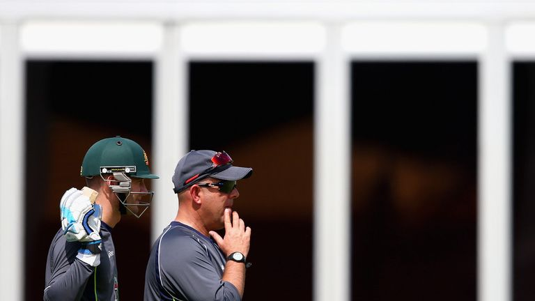 Skipper Michael Clarke and coach Darren Lehmann kept an eye on proceedings...