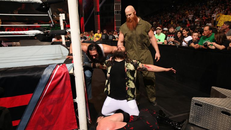 The Wyatt Familt attacked Kane on the Monday Night Raw debut
