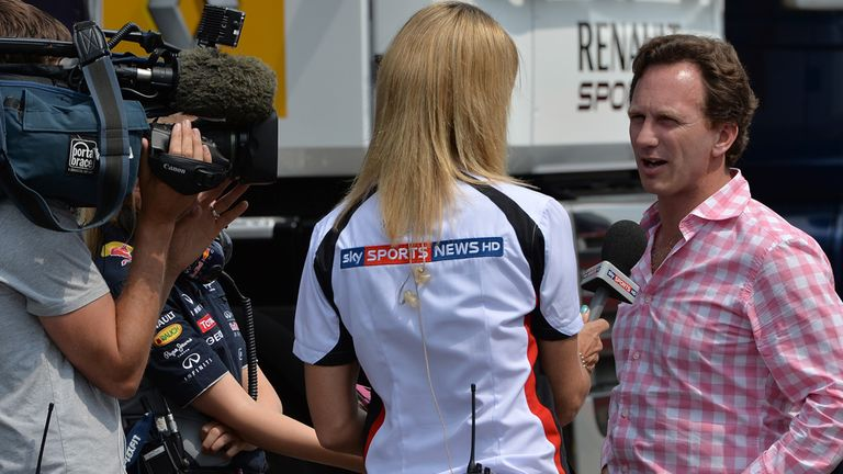 Sky Sports News' Rachel Brookes interviews Christian Horner at the Young Driver Test