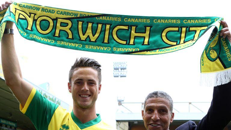 Chris Hughton poses with record signing Ricky van Wolfswinkel