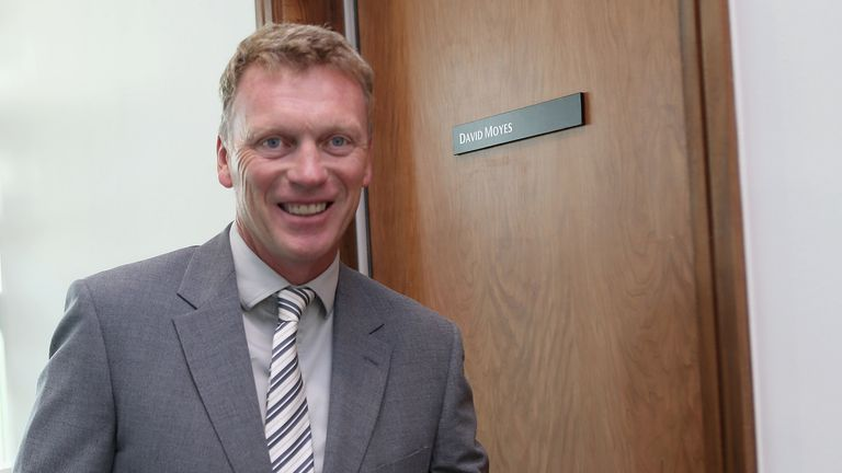 David Moyes: New Manchester United manager heads into his office at club's Carrington training ground