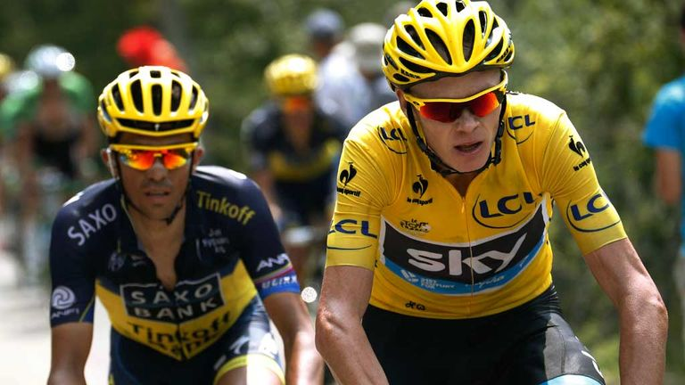 Alberto Contador (left): Conceded he is no match for Chris Froome in the mountains