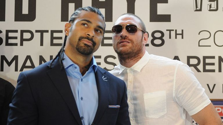 Tyson Fury clowning around with David Haye at the press conference