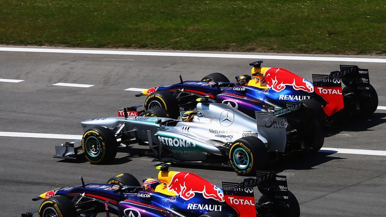 Lewis Hamilton: Lost the lead of the race to the two Red Bulls into the first corner