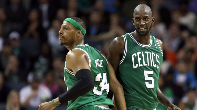 Paul Pierce (L) and Kevin Garnett: Have made the switch from Boston to Brooklyn