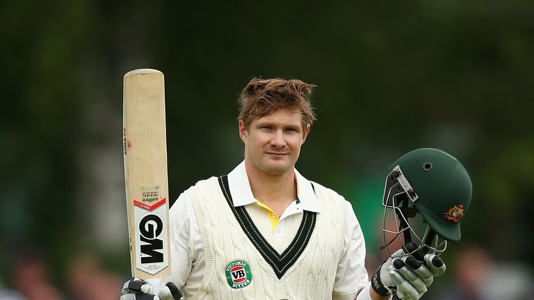 Shane Watson celebrates after reaching his century at New Road