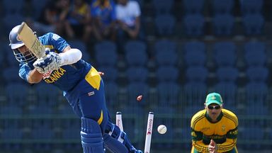 Tillakartne Dilshan fell in the fourth over.