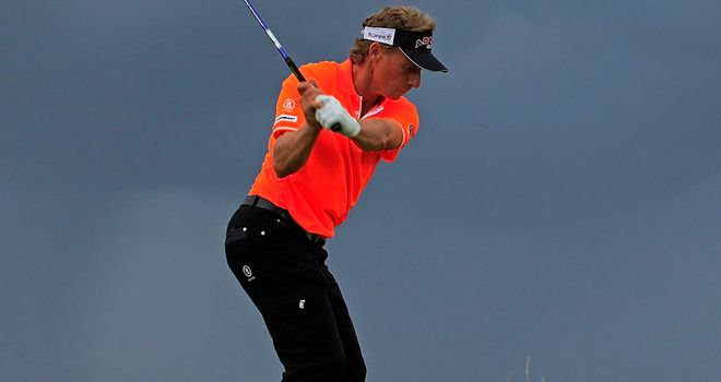 Bernhard Langer tees-off as the sky darkens over Southport