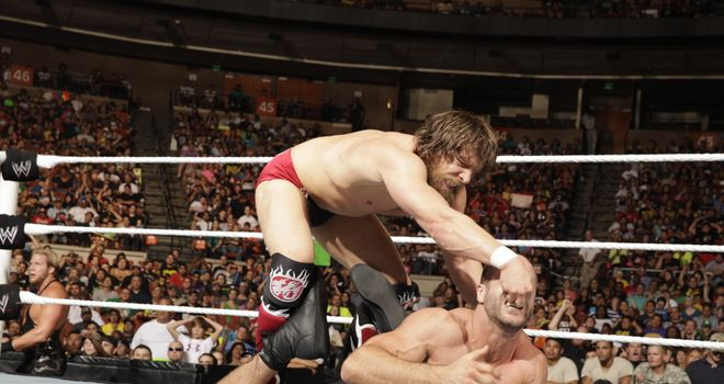 Bryan (L) fought Cesaro as part of a Gauntlet Match
