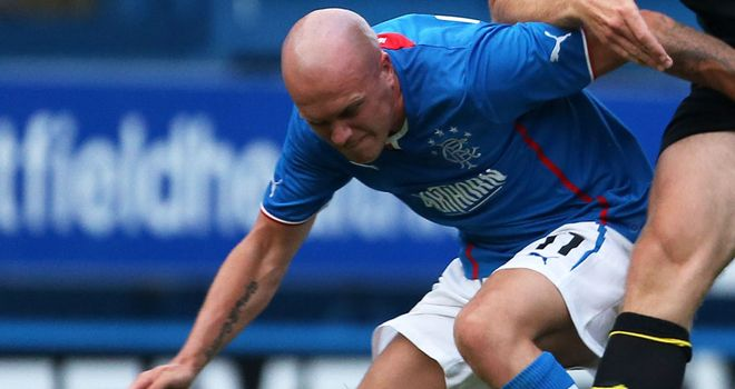 Nicky Law: Netted twice as Rangers won 4-0 at Albion Rovers in Ramsden's Cup