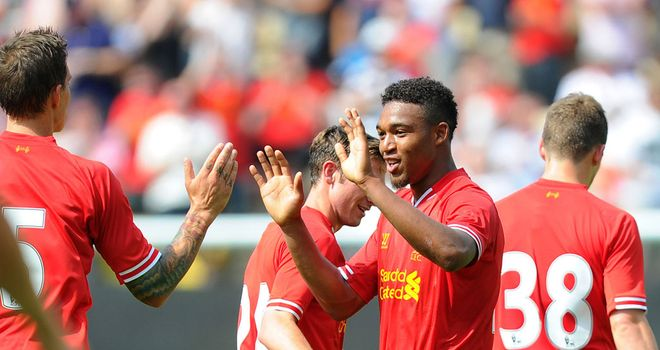Jordon Ibe: Celebrates goal for Liverpool at Deepdale