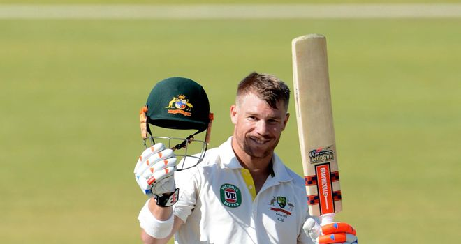 David Warner celebrates his century in South Africa