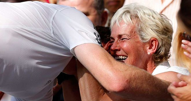 Judy and Andy Murray: Embrace after victory in the Wimbledon final
