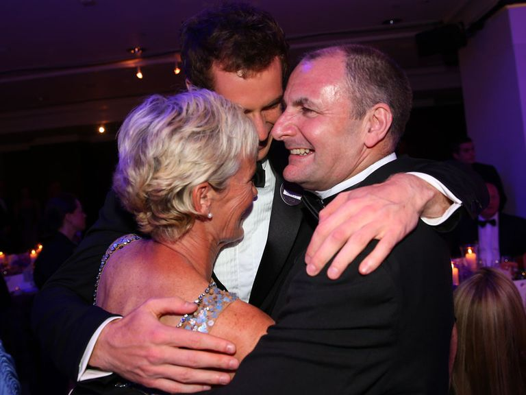 Andy Murray enjoys Wimbledon success with his parents.