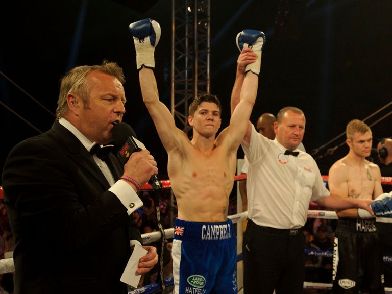 Luke Campbell celebrates his first victory as a professional