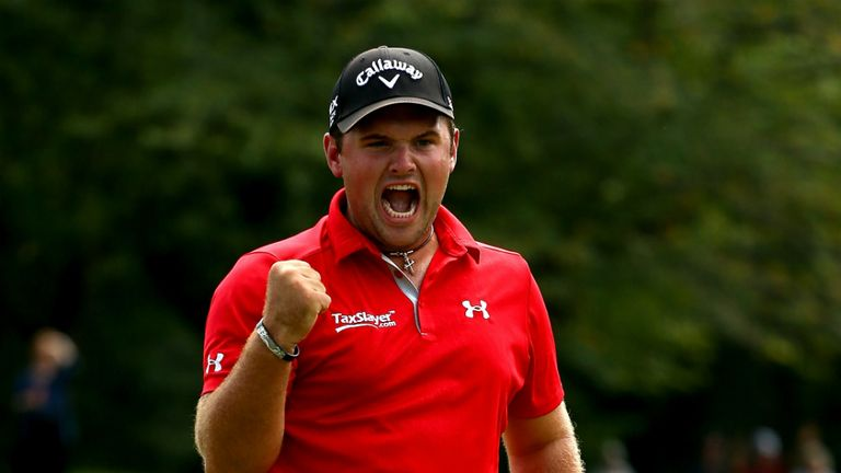 Patrick Reed: American celebrates sinking the winning putt at the Wyndham Championship