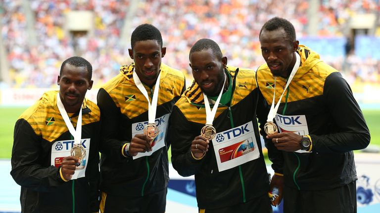 (left to right): Nickel Ashmeade, Nesta Carter, Kemar Bailey-Cole and Usain Bolt