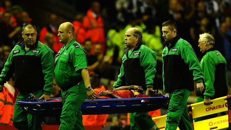 Kolo Toure: Stretchered away from the victory over Notts County