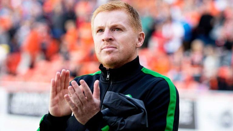 Neil Lennon: Celebrates Celtic's win over Dundee United