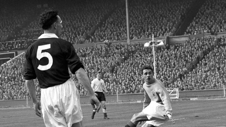 Fred Martin (r) in action for Scotland against England at Wembley