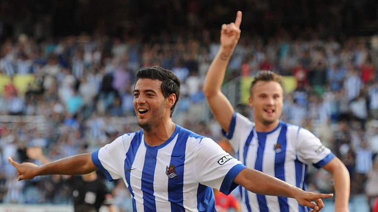 Carlos Vela: Celebrates his goal for Real Sociedad