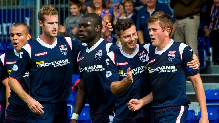 Richard Brittain (right) celebrates his second goal against St Mirren