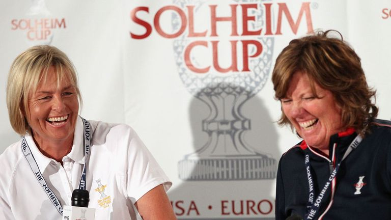 Solheim Cup skippers Liselotte Neumann and Meg Mallon at Friday's opening ceremony in Colorado