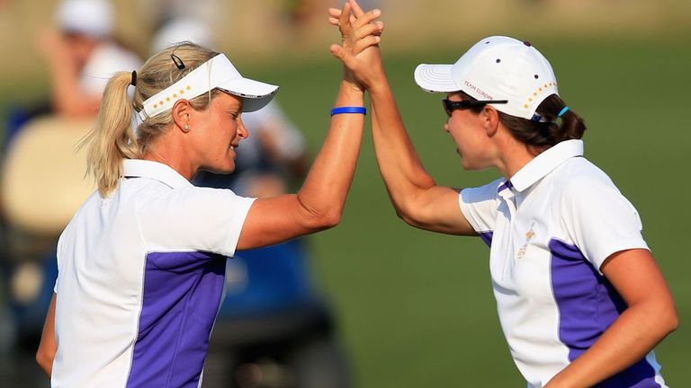 Suzann Pettersen and Carlota Ciganda won a thrilling match