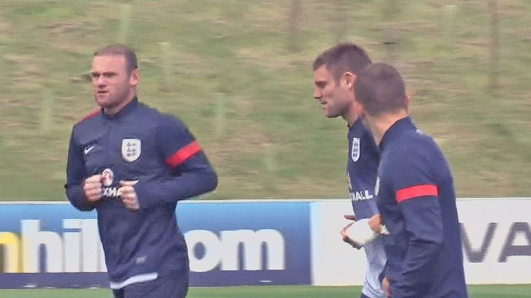 Rooney training with the England squad
