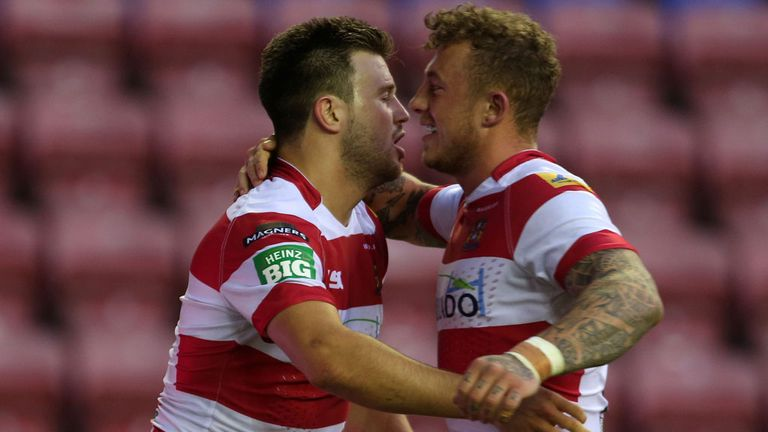 Josh Charnley (right): Terry feels one of his scores should have been chalked off