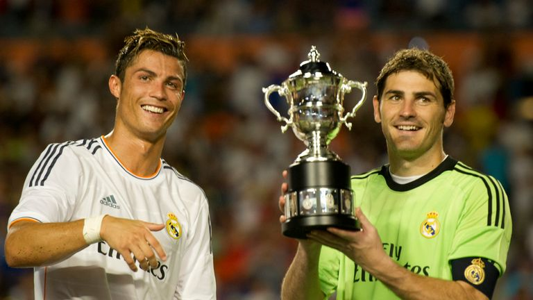 Cristiano Ronaldo and Iker Casillas: Real Madrid duo lift the Guinness International Cup last year