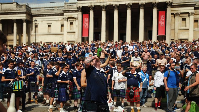 Scotland fans in Trafalgar Square