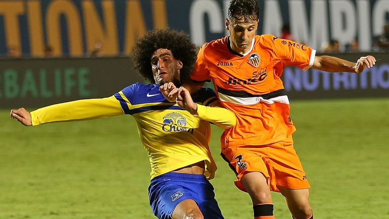 Marouane Fellaini challenges for the ball during Everton's defeat to Valencia in the United States