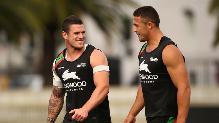 Luke (L) and Sam Burgess could like up alongside brothers George and Tom in Friday's NRL clash