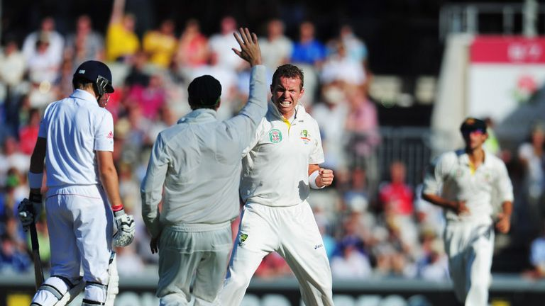 Peter Siddle celebrates the dismissal of Lord's centurion Joe Root