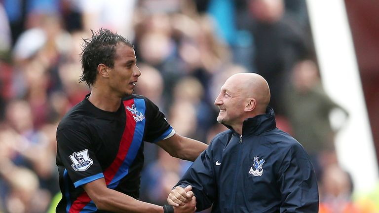 Ian Holloway: Celebrates with goalscorer Maouane Chamakh at Stoke