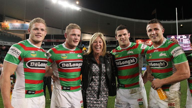 It's all smiles from Tom, George, Julie, Luke and Sam Burgess pose after the full-time whistle