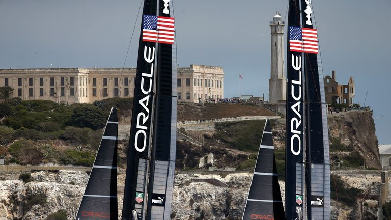Oracle Team USA: Docked two points ahead of the America's Cup, which starts on Saturday