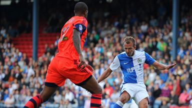 Jordan Rhodes in action for Blackburn against Bolton