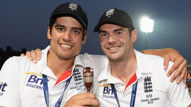 Alastair Cook and James Anderson celebrate the summer's Ashes win