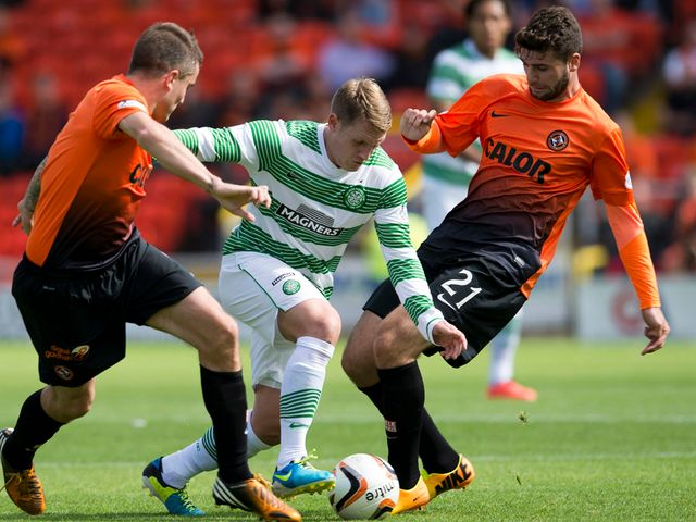 Celtic's Kris Commons makes a break forward