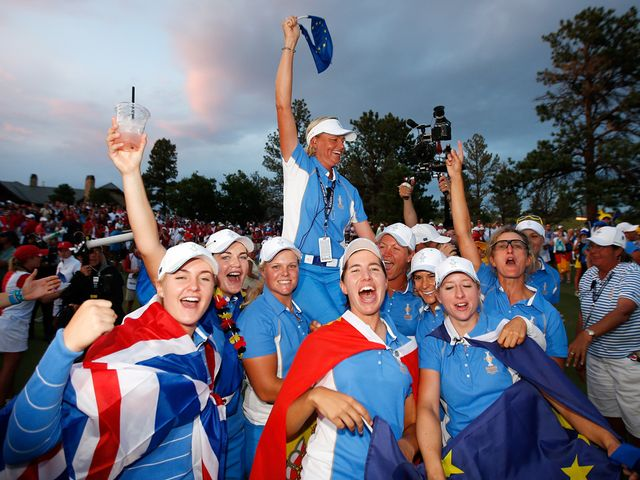 Europe celebrate their Solheim Cup success