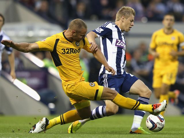 Matej Vydra is tackled by Harry Worley