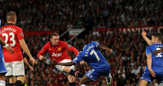 Wayne Rooney: Ramires blocks a shot from the United striker