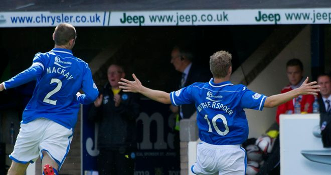 David Wotherspoon (r): Celebrates scoring St Johnstone's second goal