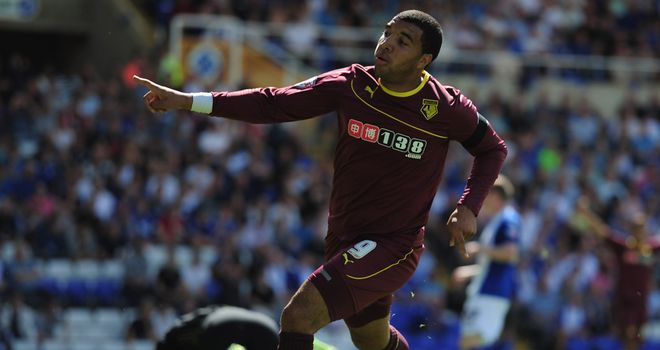 Troy Deeney: Celebrates Watford's winner at Birmingham