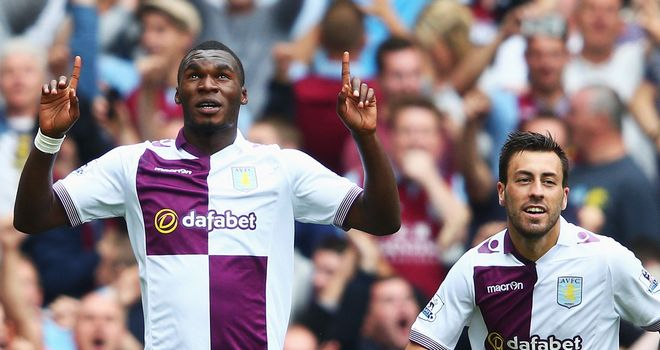 Christian Benteke: Netted twice in Aston Villa's 3-1 win at Arsenal