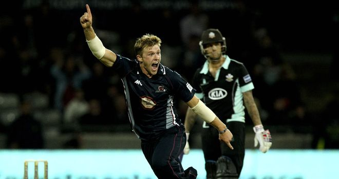 David Willey in Twenty20 action for Northants