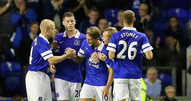 Gerard Deulofeu: Celebrated debut goal for Everton