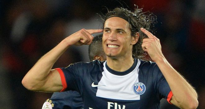 Cavani celebrates his late equaliser